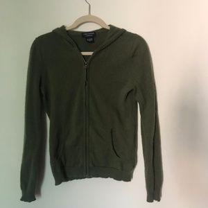 khaki cashmere cardigan hoodie